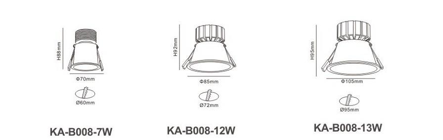 Đèn led âm trần KA-B008