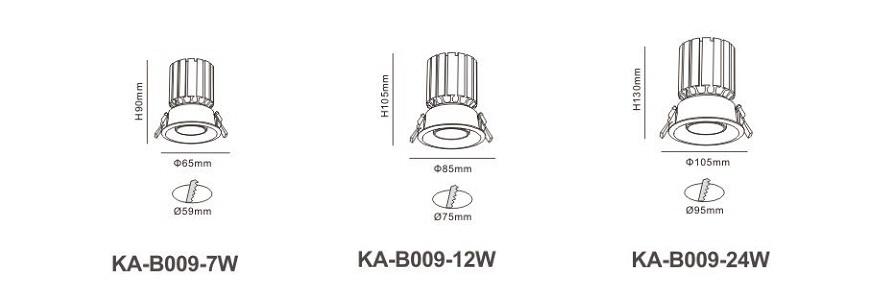 Đèn led âm trần KA-B009